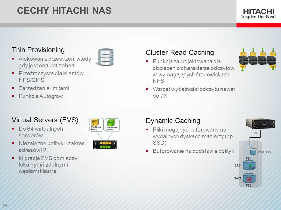 34 CECHY HITACHI NAS Snapshot Przechowuje jedynie zmiany bloków danych Zarządzanie kopiami w oparciu o polityki Realizowane sprzętowo 1024 kopie per system plików Kopie wykonywane nawet co 1 sekundę TFS (Tiered File System) System plików zbudowany w obrębie dwóch klas pamięci masowej Metadane przechowywane na szybkich dyskach (np.