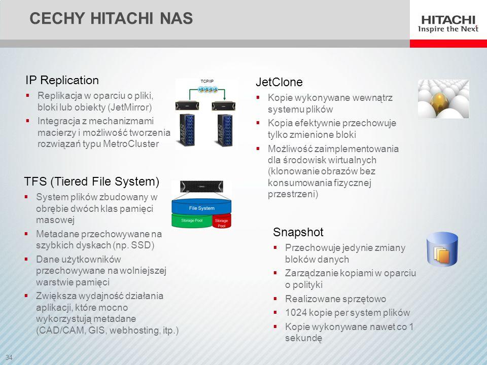 34 CECHY HITACHI NAS Snapshot Przechowuje jedynie zmiany bloków danych Zarządzanie kopiami w oparciu o polityki Realizowane sprzętowo 1024 kopie per s