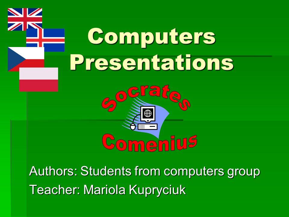 Zapraszam do oglądania wizytówek i prezentacji komputerowych wykonanych w ramach projektu Socrates Comenius na zajęciach kółka komputerowego.