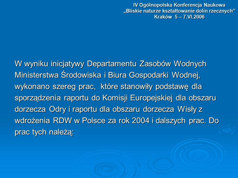 IV Ogólnopolska Konferencja Naukowa Bliskie naturze kształtowanie dolin rzecznych Kraków 5 – 7.VI.2006 W wyniku inicjatywy Departamentu Zasobów Wodnych Ministerstwa Środowiska i Biura Gospodarki Wodnej, wykonano szereg prac, które stanowiły podstawę dla sporządzenia raportu do Komisji Europejskiej dla obszaru dorzecza Odry i raportu dla obszaru dorzecza Wisły z wdrożenia RDW w Polsce za rok 2004 i dalszych prac.