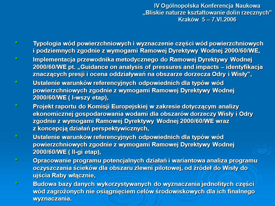 IV Ogólnopolska Konferencja Naukowa Bliskie naturze kształtowanie dolin rzecznych Kraków 5 – 7.VI.2006 Typologia wód powierzchniowych i wyznaczenie części wód powierzchniowych i podziemnych zgodnie z wymogami Ramowej Dyrektywy Wodnej 2000/60/WE, Typologia wód powierzchniowych i wyznaczenie części wód powierzchniowych i podziemnych zgodnie z wymogami Ramowej Dyrektywy Wodnej 2000/60/WE, Implementacja przewodnika metodycznego do Ramowej Dyrektywy Wodnej 2000/60/WE pt.