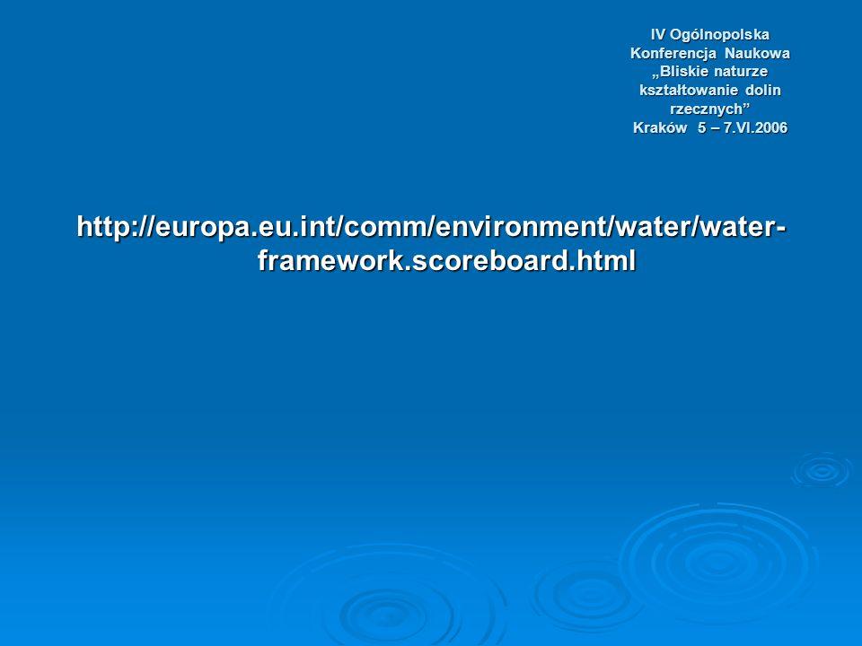 IV Ogólnopolska Konferencja Naukowa Bliskie naturze kształtowanie dolin rzecznych Kraków 5 – 7.VI.2006 http://europa.eu.int/comm/environment/water/water- framework.scoreboard.html