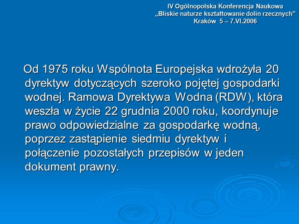 IV Ogólnopolska Konferencja Naukowa Bliskie naturze kształtowanie dolin rzecznych Kraków 5 – 7.VI.2006 Realizacja wybranych zadań zawartych Realizacja wybranych zadań zawartych w Dyrektywie w Polsce.