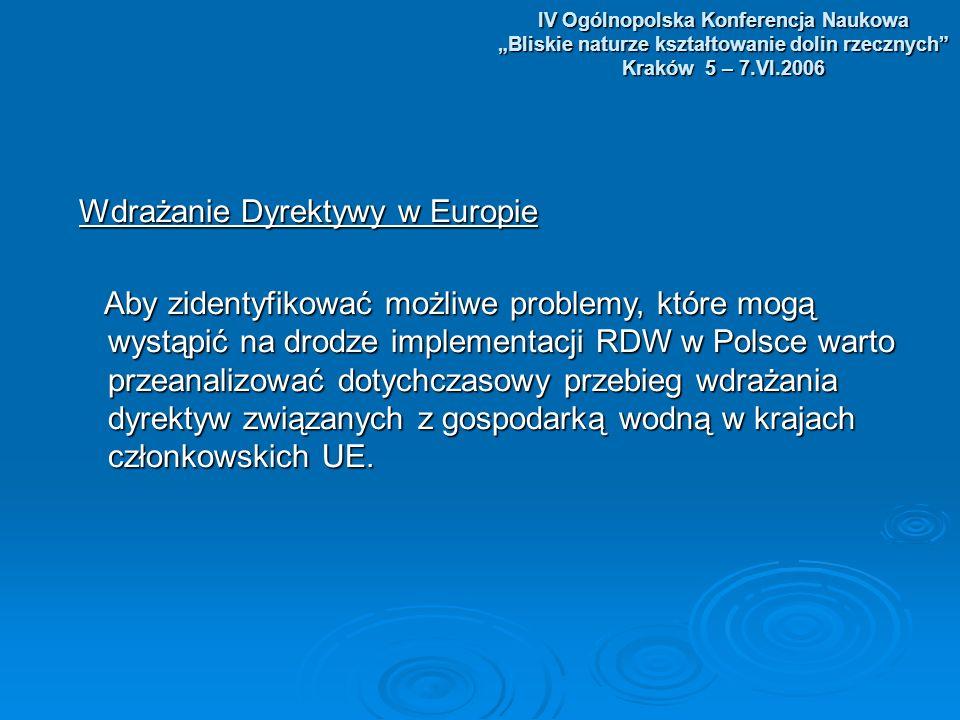 IV Ogólnopolska Konferencja Naukowa Bliskie naturze kształtowanie dolin rzecznych Kraków 5 – 7.VI.2006 Wdrażanie Dyrektywy w Europie Wdrażanie Dyrektywy w Europie Aby zidentyfikować możliwe problemy, które mogą wystąpić na drodze implementacji RDW w Polsce warto przeanalizować dotychczasowy przebieg wdrażania dyrektyw związanych z gospodarką wodną w krajach członkowskich UE.