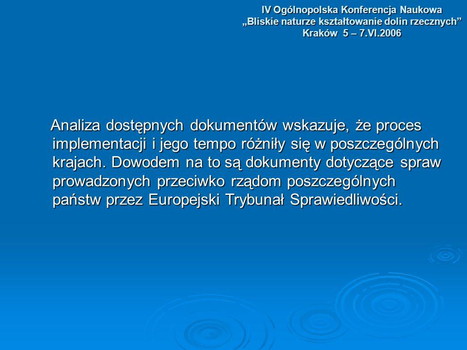 IV Ogólnopolska Konferencja Naukowa Bliskie naturze kształtowanie dolin rzecznych Kraków 5 – 7.VI.2006 Na podstawie analizy dotychczasowych doświadczeń we wdrażaniu dyrektyw Na podstawie analizy dotychczasowych doświadczeń we wdrażaniu dyrektyw dotyczących gospodarki wodnej można określić podstawowe źródła problemów dotyczących gospodarki wodnej można określić podstawowe źródła problemów związanych z implementacją tych dyrektyw w poszczególnych krajach związanych z implementacją tych dyrektyw w poszczególnych krajach członkowskich UE.
