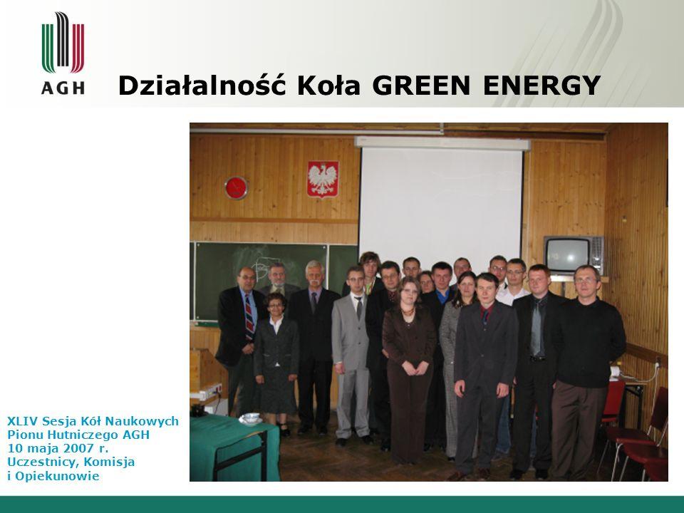 Działalność Koła GREEN ENERGY XLIV Sesja Kół Naukowych Pionu Hutniczego AGH 10 maja 2007 r. Uczestnicy, Komisja i Opiekunowie