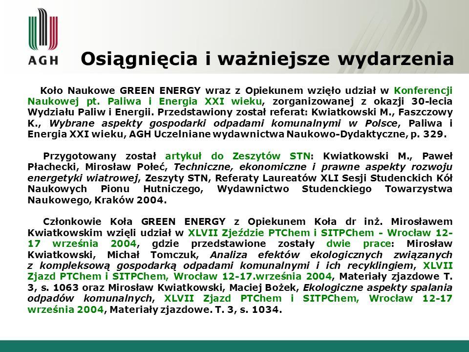 Osiągnięcia i ważniejsze wydarzenia Koło Naukowe GREEN ENERGY wraz z Opiekunem wzięło udział w Konferencji Naukowej pt. Paliwa i Energia XXI wieku, zo