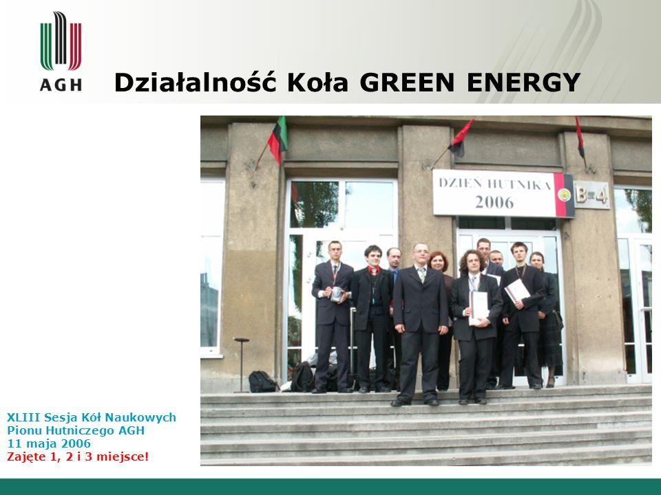 Działalność Koła GREEN ENERGY XLIV Sesja Kół Naukowych Pionu Hutniczego AGH 10 maja 2007 r.