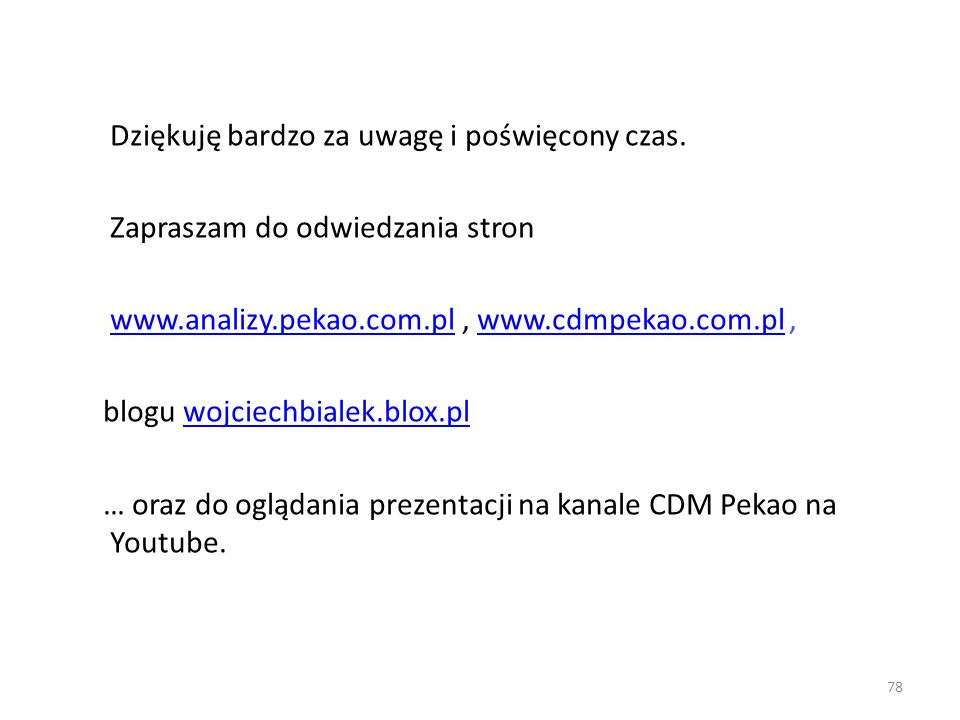 Dziękuję bardzo za uwagę i poświęcony czas. Zapraszam do odwiedzania stron www.analizy.pekao.com.plwww.analizy.pekao.com.pl, www.cdmpekao.com.pl,www.c