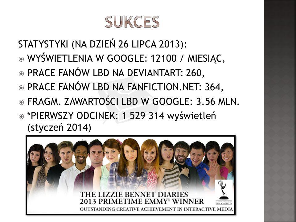 STATYSTYKI (NA DZIEŃ 26 LIPCA 2013): WYŚWIETLENIA W GOOGLE: 12100 / MIESIĄC, PRACE FANÓW LBD NA DEVIANTART: 260, PRACE FANÓW LBD NA FANFICTION.NET: 364, FRAGM.