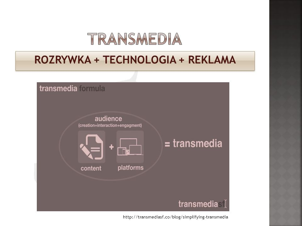 ROZRYWKA + TECHNOLOGIA + REKLAMA http://transmediasf.co/blog/simplifying-transmedia