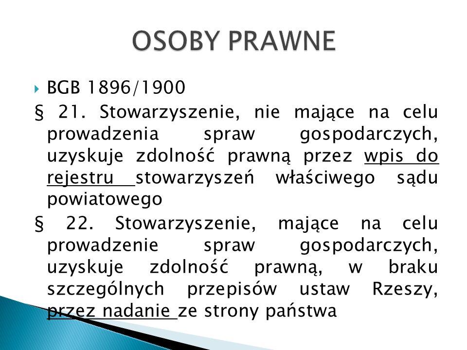 BGB 1896/1900 § 21. Stowarzyszenie, nie mające na celu prowadzenia spraw gospodarczych, uzyskuje zdolność prawną przez wpis do rejestru stowarzyszeń w