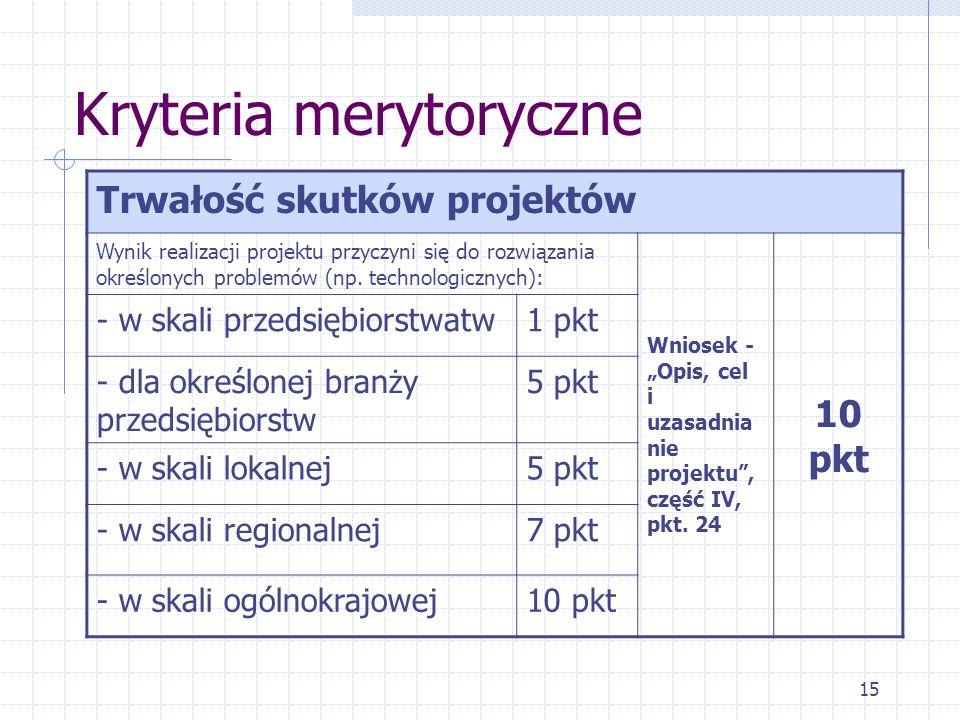 15 Kryteria merytoryczne Trwałość skutków projektów Wynik realizacji projektu przyczyni się do rozwiązania określonych problemów (np.