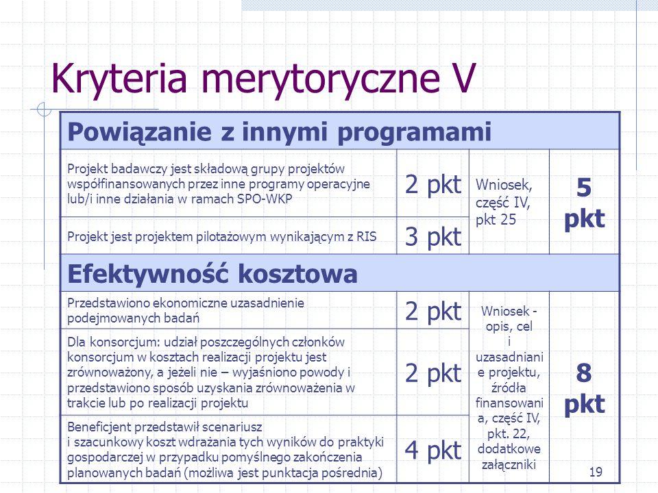 19 Kryteria merytoryczne V Powiązanie z innymi programami Projekt badawczy jest składową grupy projektów współfinansowanych przez inne programy operacyjne lub/i inne działania w ramach SPO-WKP 2 pkt Wniosek, część IV, pkt 25 5 pkt Projekt jest projektem pilotażowym wynikającym z RIS 3 pkt Efektywność kosztowa Przedstawiono ekonomiczne uzasadnienie podejmowanych badań 2 pkt Wniosek - opis, cel i uzasadniani e projektu, źródła finansowani a, część IV, pkt.