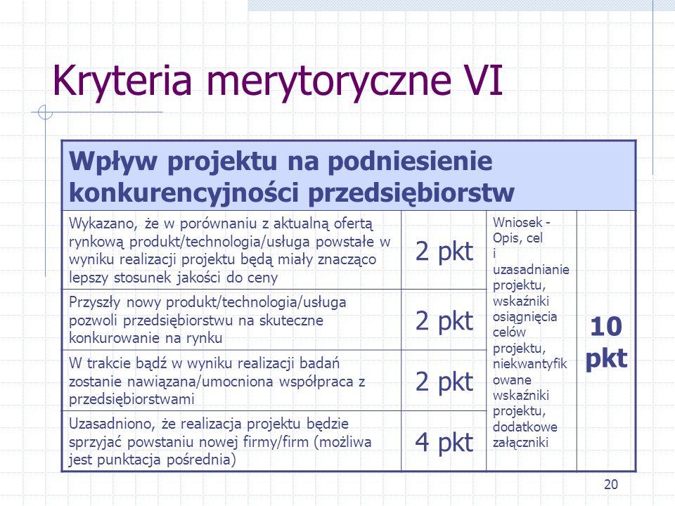 20 Kryteria merytoryczne VI Wpływ projektu na podniesienie konkurencyjności przedsiębiorstw Wykazano, że w porównaniu z aktualną ofertą rynkową produkt/technologia/usługa powstałe w wyniku realizacji projektu będą miały znacząco lepszy stosunek jakości do ceny 2 pkt Wniosek - Opis, cel i uzasadnianie projektu, wskaźniki osiągnięcia celów projektu, niekwantyfik owane wskaźniki projektu, dodatkowe załączniki 10 pkt Przyszły nowy produkt/technologia/usługa pozwoli przedsiębiorstwu na skuteczne konkurowanie na rynku 2 pkt W trakcie bądź w wyniku realizacji badań zostanie nawiązana/umocniona współpraca z przedsiębiorstwami 2 pkt Uzasadniono, że realizacja projektu będzie sprzyjać powstaniu nowej firmy/firm (możliwa jest punktacja pośrednia) 4 pkt