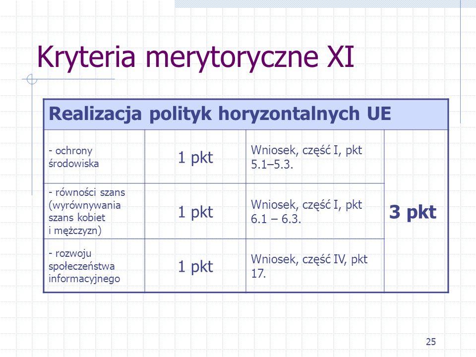 25 Kryteria merytoryczne XI Realizacja polityk horyzontalnych UE - ochrony środowiska 1 pkt Wniosek, część I, pkt 5.1–5.3.