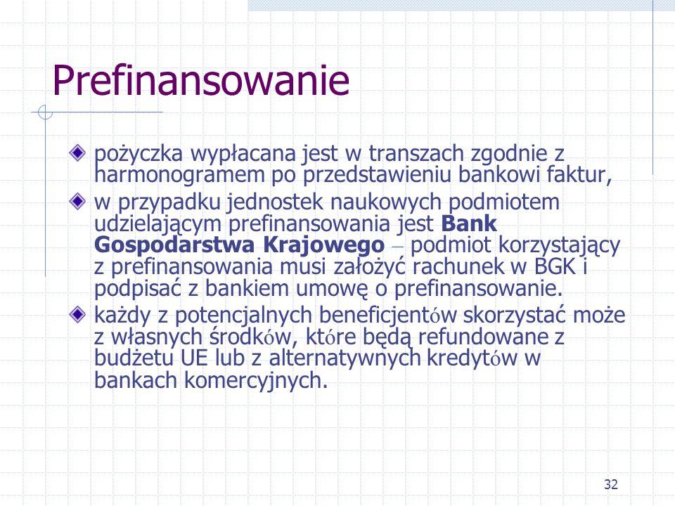 32 Prefinansowanie pożyczka wypłacana jest w transzach zgodnie z harmonogramem po przedstawieniu bankowi faktur, w przypadku jednostek naukowych podmiotem udzielającym prefinansowania jest Bank Gospodarstwa Krajowego – podmiot korzystający z prefinansowania musi założyć rachunek w BGK i podpisać z bankiem umowę o prefinansowanie.