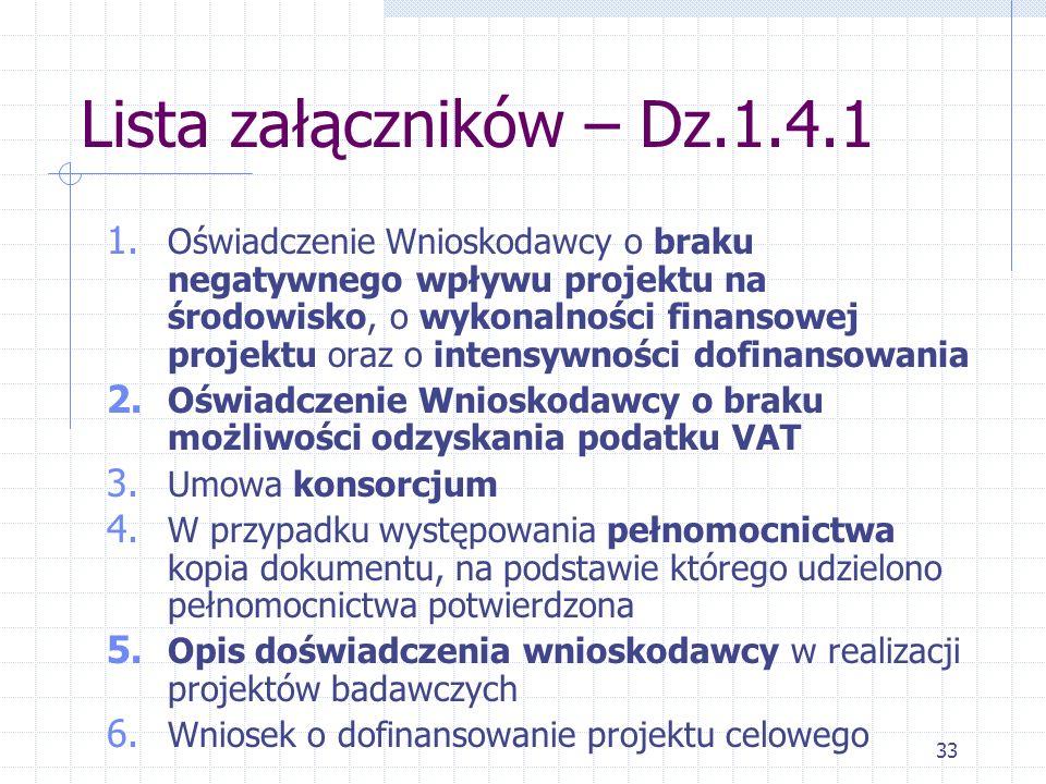 33 Lista załączników – Dz.1.4.1 1.
