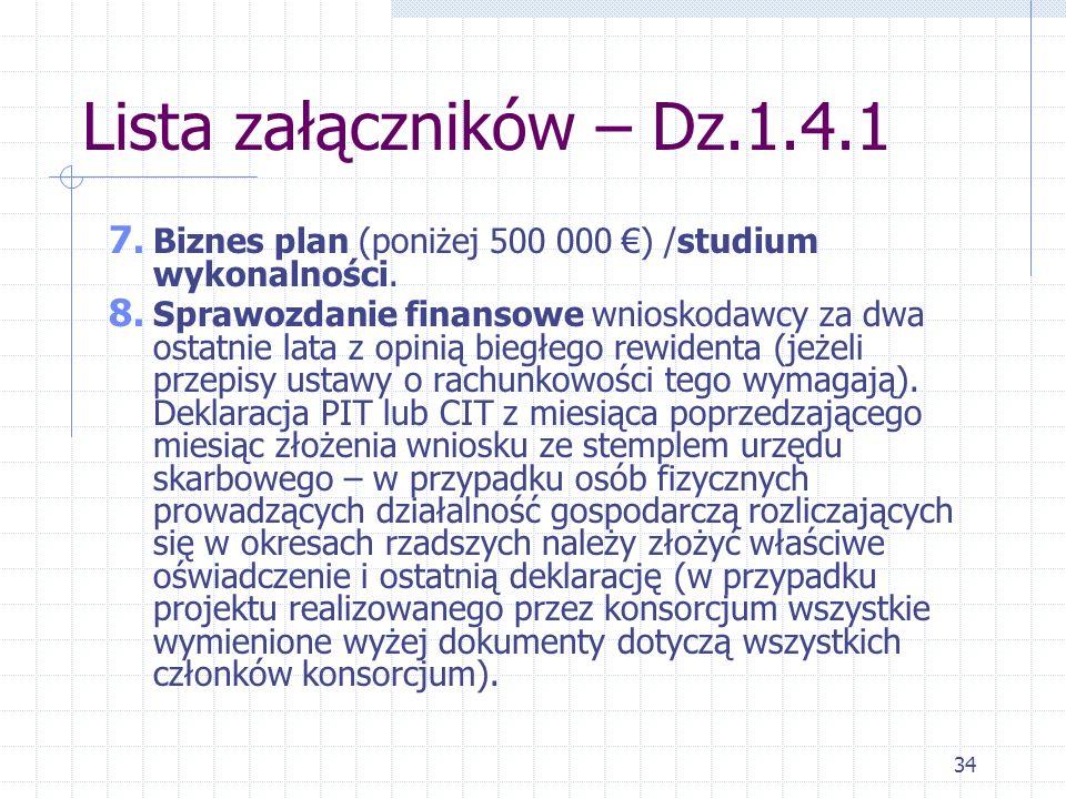 34 Lista załączników – Dz.1.4.1 7. Biznes plan (poniżej 500 000 ) /studium wykonalności.