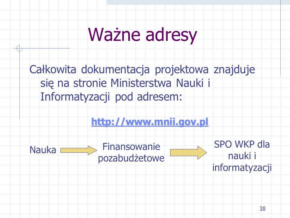 38 Ważne adresy Całkowita dokumentacja projektowa znajduje się na stronie Ministerstwa Nauki i Informatyzacji pod adresem: http://www.mnii.gov.pl Nauka Finansowanie pozabudżetowe SPO WKP dla nauki i informatyzacji