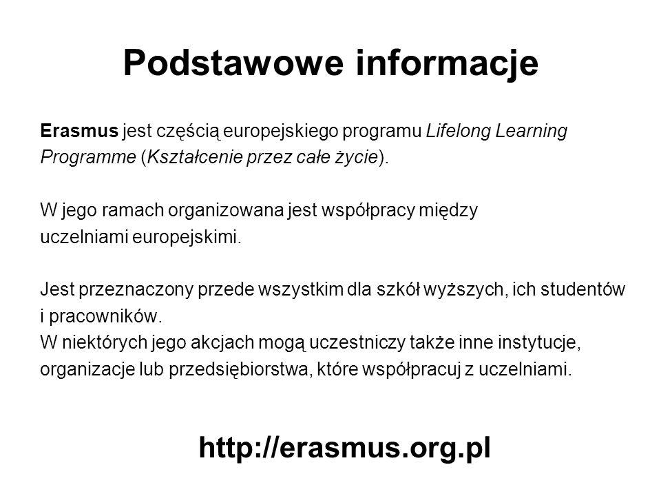 Podstawowe informacje Erasmus jest częścią europejskiego programu Lifelong Learning Programme (Kształcenie przez całe życie).