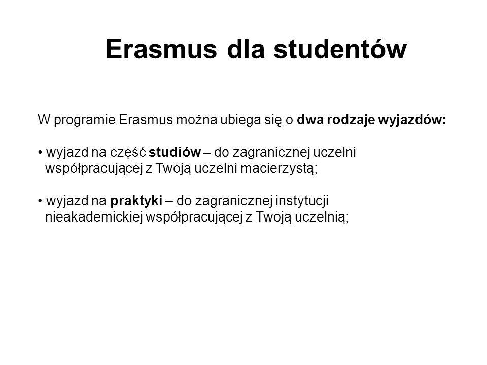 Erasmus dla studentów W programie Erasmus można ubiega się o dwa rodzaje wyjazdów: wyjazd na część studiów – do zagranicznej uczelni współpracującej z Twoją uczelni macierzystą; wyjazd na praktyki – do zagranicznej instytucji nieakademickiej współpracującej z Twoją uczelnią;