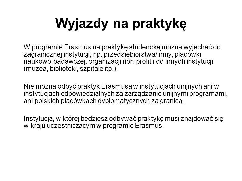 Wyjazdy na praktykę W programie Erasmus na praktykę studencką można wyjechać do zagranicznej instytucji, np.