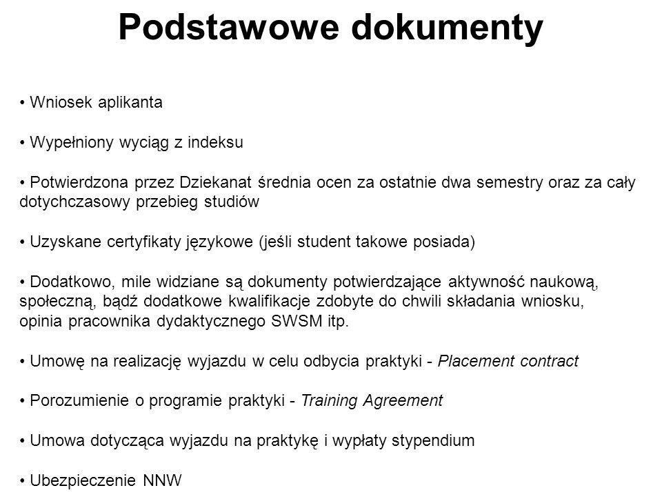 Podstawowe dokumenty Wniosek aplikanta Wypełniony wyciąg z indeksu Potwierdzona przez Dziekanat średnia ocen za ostatnie dwa semestry oraz za cały dotychczasowy przebieg studiów Uzyskane certyfikaty językowe (jeśli student takowe posiada) Dodatkowo, mile widziane są dokumenty potwierdzające aktywność naukową, społeczną, bądź dodatkowe kwalifikacje zdobyte do chwili składania wniosku, opinia pracownika dydaktycznego SWSM itp.