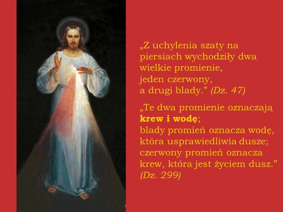 Z uchylenia szaty na piersiach wychodziły dwa wielkie promienie, jeden czerwony, a drugi blady. (Dz. 47) Te dwa promienie oznaczają krew i wodę ; blad