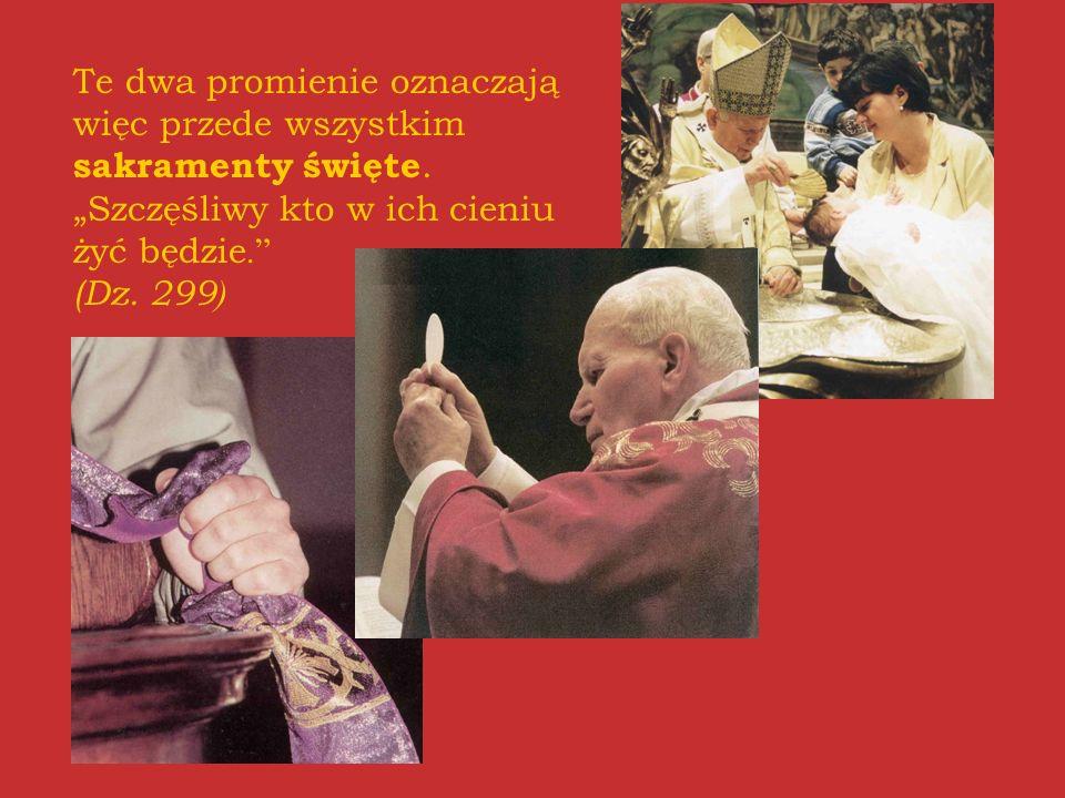 Te dwa promienie oznaczają więc przede wszystkim sakramenty święte.Szczęśliwy kto w ich cieniu żyć będzie. (Dz. 299 )