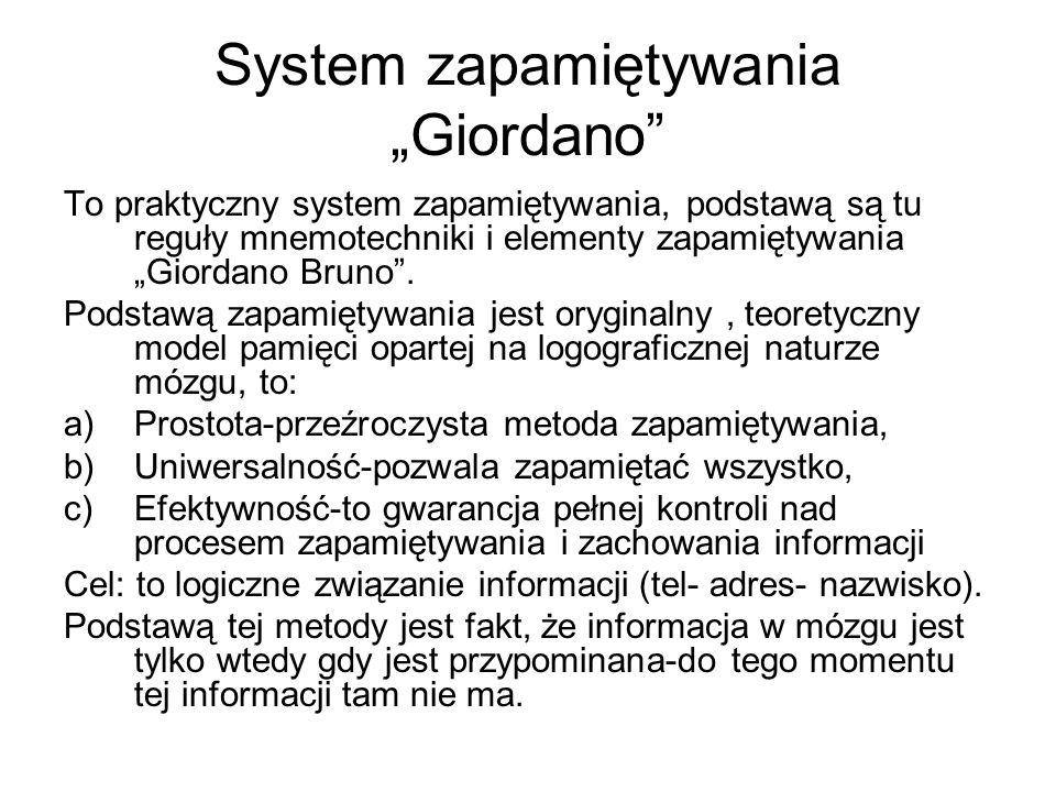 System zapamiętywania Giordano To praktyczny system zapamiętywania, podstawą są tu reguły mnemotechniki i elementy zapamiętywania Giordano Bruno. Pods