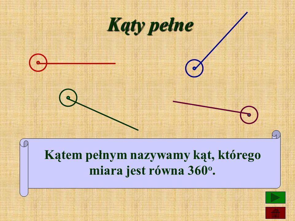 Kąty półpełne Kątem półpełnym nazywamy kąt, którego miara jest równa 180 o.