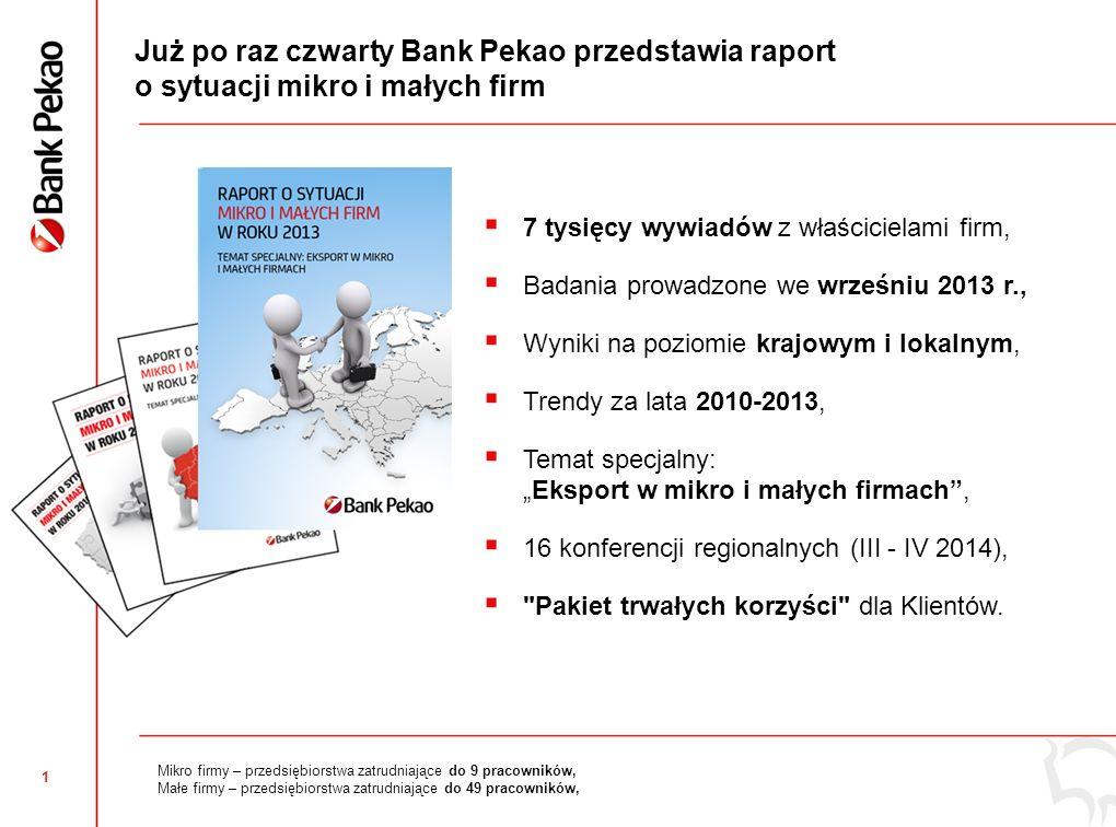 1 Już po raz czwarty Bank Pekao przedstawia raport o sytuacji mikro i małych firm 7 tysięcy wywiadów z właścicielami firm, Badania prowadzone we wrześ