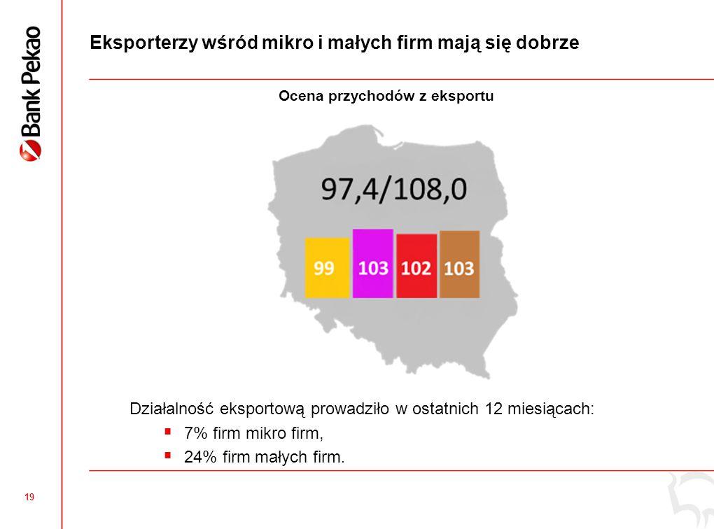 19 Eksporterzy wśród mikro i małych firm mają się dobrze Działalność eksportową prowadziło w ostatnich 12 miesiącach: 7% firm mikro firm, 24% firm mał