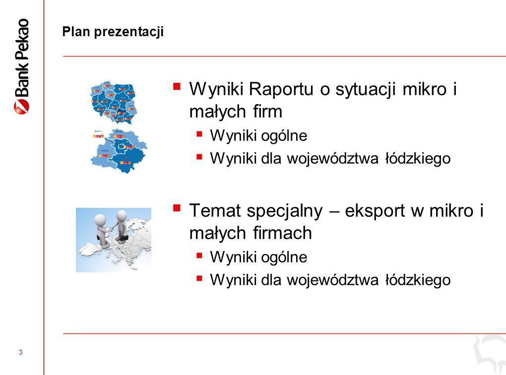 3 Plan prezentacji Wyniki Raportu o sytuacji mikro i małych firm Wyniki ogólne Wyniki dla województwa łódzkiego Temat specjalny – eksport w mikro i ma