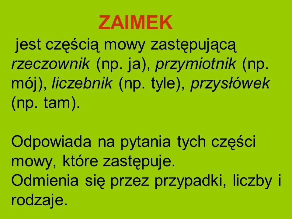 ZAIMEK jest częścią mowy zastępującą rzeczownik (np. ja), przymiotnik (np. mój), liczebnik (np. tyle), przysłówek (np. tam). Odpowiada na pytania tych