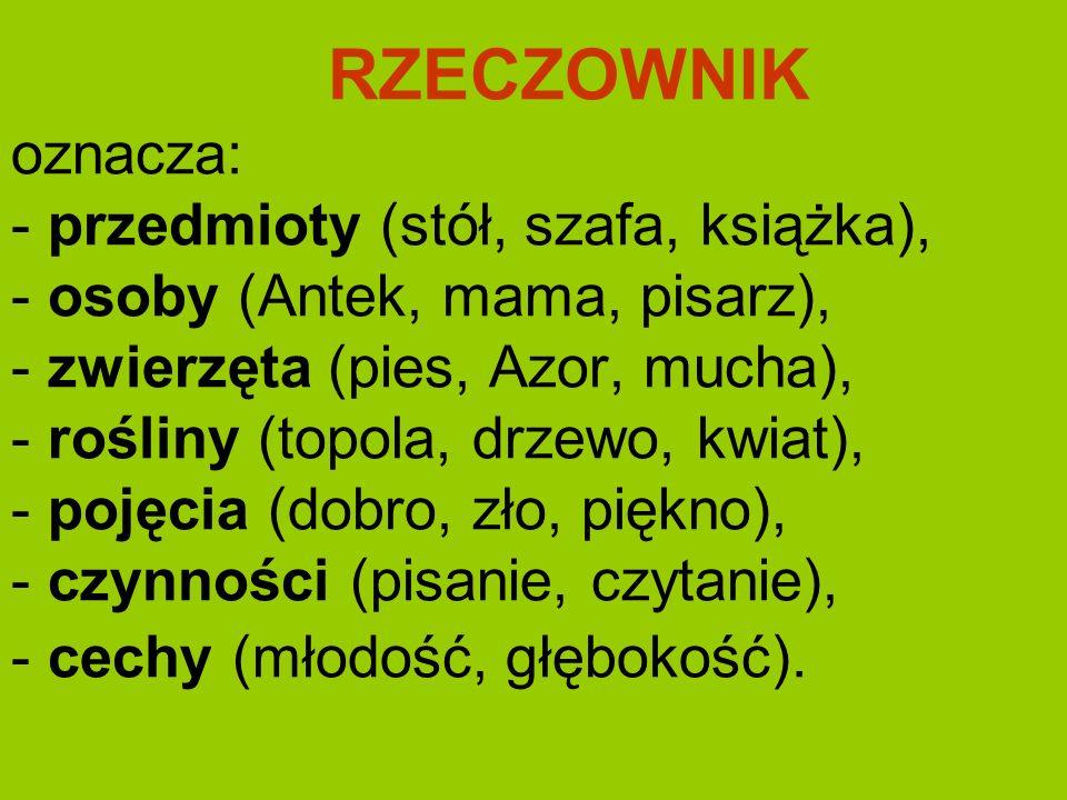 RZECZOWNIK oznacza: - przedmioty (stół, szafa, książka), - osoby (Antek, mama, pisarz), - zwierzęta (pies, Azor, mucha), - rośliny (topola, drzewo, kw