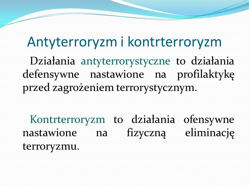 Antyterroryzm i kontrterroryzm Działania antyterrorystyczne to działania defensywne nastawione na profilaktykę przed zagrożeniem terrorystycznym. Kont