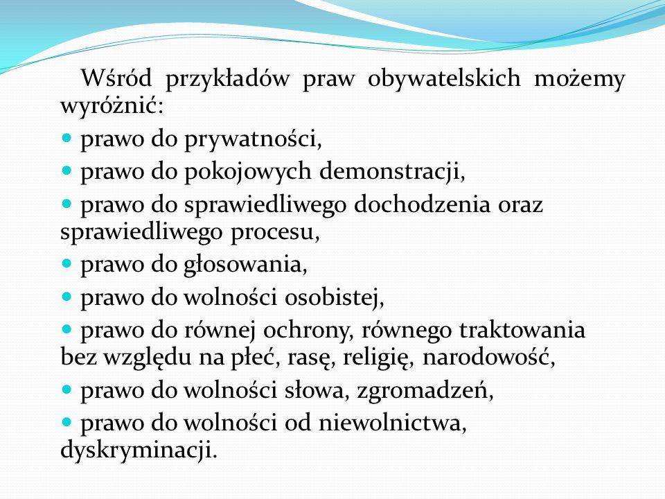 Wśród przykładów praw obywatelskich możemy wyróżnić: prawo do prywatności, prawo do pokojowych demonstracji, prawo do sprawiedliwego dochodzenia oraz