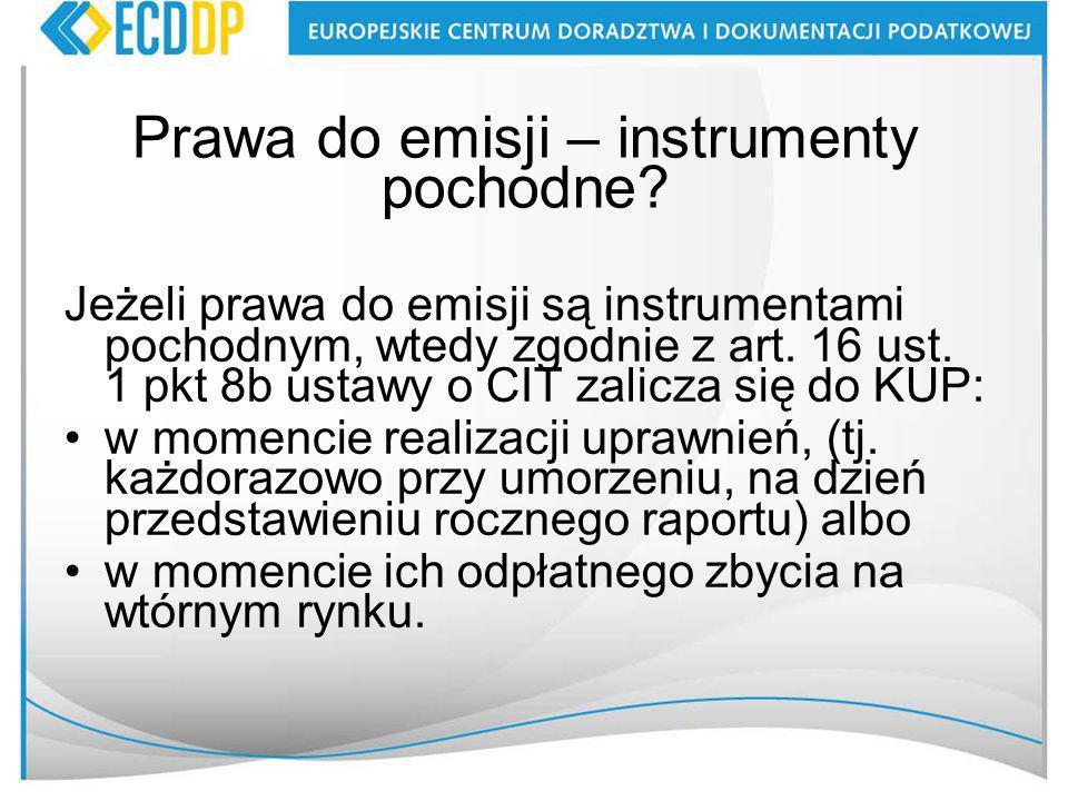 Prawa do emisji – instrumenty pochodne.