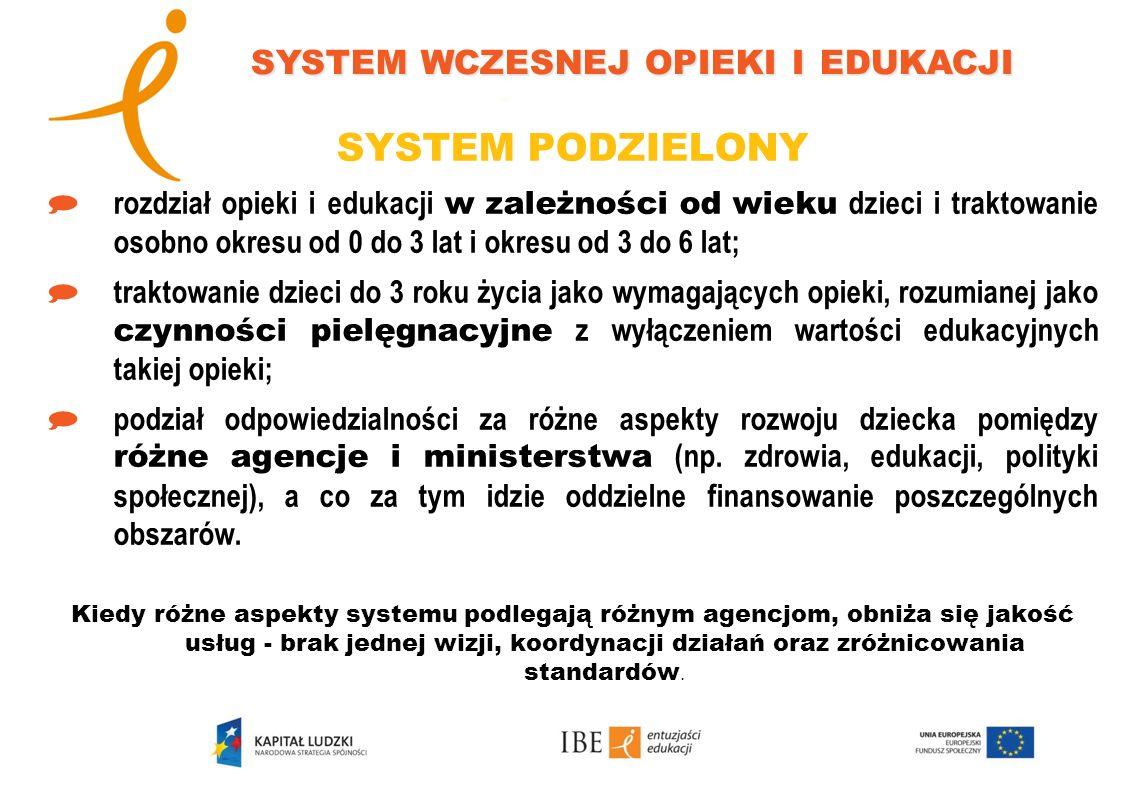 SYSTEM PODZIELONY rozdział opieki i edukacji w zależności od wieku dzieci i traktowanie osobno okresu od 0 do 3 lat i okresu od 3 do 6 lat; traktowani