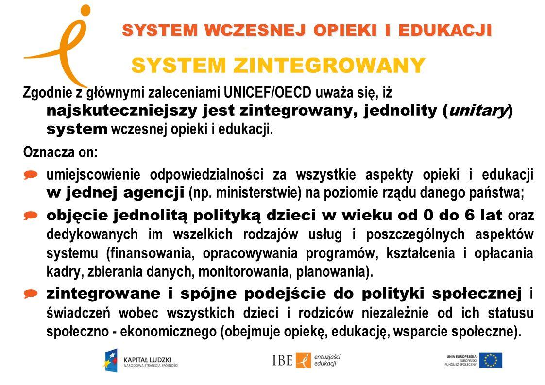 SYSTEM ZINTEGROWANY Zgodnie z głównymi zaleceniami UNICEF/OECD uważa się, iż najskuteczniejszy jest zintegrowany, jednolity (unitary) system wczesnej