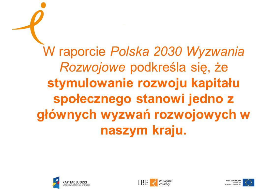 W raporcie Polska 2030 Wyzwania Rozwojowe podkreśla się, że stymulowanie rozwoju kapitału społecznego stanowi jedno z głównych wyzwań rozwojowych w na