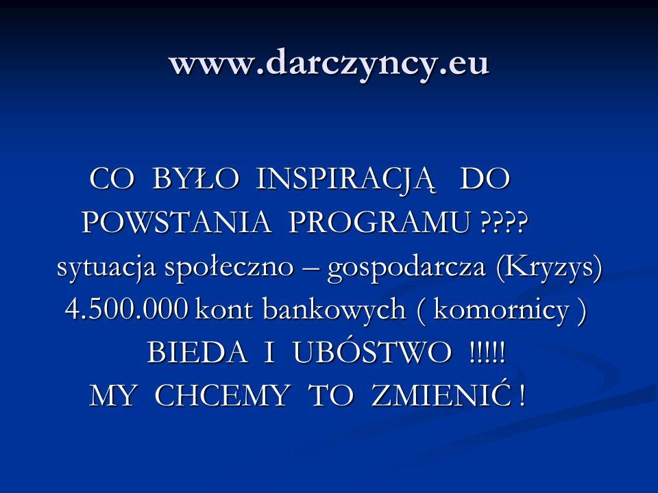 www.darczyncy.eu CO BYŁO INSPIRACJĄ DO CO BYŁO INSPIRACJĄ DO POWSTANIA PROGRAMU ???? POWSTANIA PROGRAMU ???? sytuacja społeczno – gospodarcza (Kryzys)
