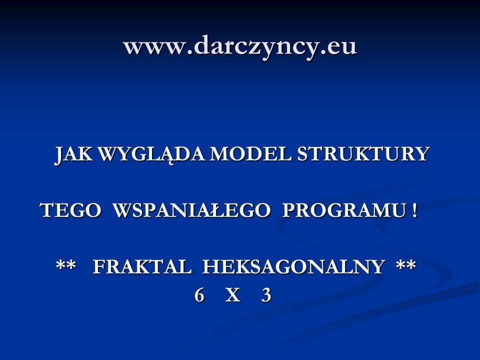www.darczyncy.eu JAK WYGLĄDA MODEL STRUKTURY JAK WYGLĄDA MODEL STRUKTURY TEGO WSPANIAŁEGO PROGRAMU ! TEGO WSPANIAŁEGO PROGRAMU ! ** FRAKTAL HEKSAGONAL