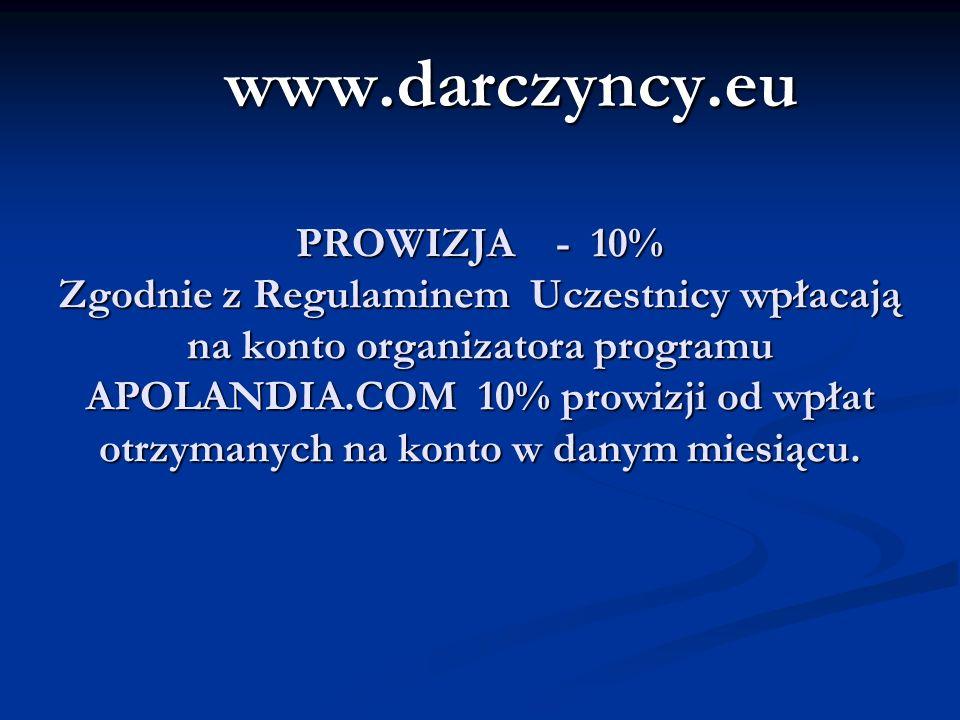 PROWIZJA - 10% Zgodnie z Regulaminem Uczestnicy wpłacają na konto organizatora programu APOLANDIA.COM 10% prowizji od wpłat otrzymanych na konto w danym miesiącu.