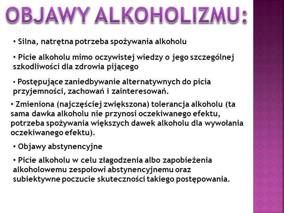 Silna, natrętna potrzeba spożywania alkoholu Picie alkoholu mimo oczywistej wiedzy o jego szczególnej szkodliwości dla zdrowia pijącego Postępujące za