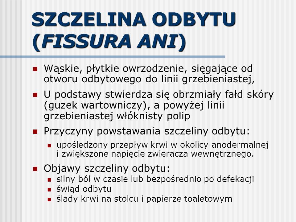 SZCZELINA ODBYTU (FISSURA ANI) Wąskie, płytkie owrzodzenie, sięgające od otworu odbytowego do linii grzebieniastej, Wąskie, płytkie owrzodzenie, sięga