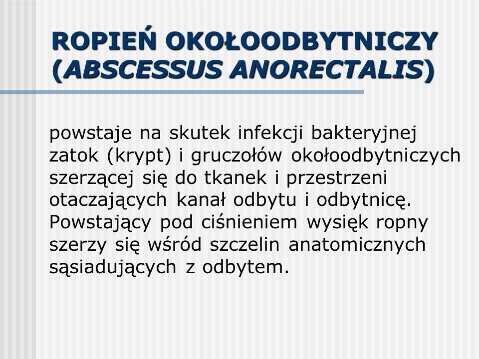 ROPIEŃ OKOŁOODBYTNICZY (ABSCESSUS ANORECTALIS) powstaje na skutek infekcji bakteryjnej zatok (krypt) i gruczołów okołoodbytniczych szerzącej się do tk