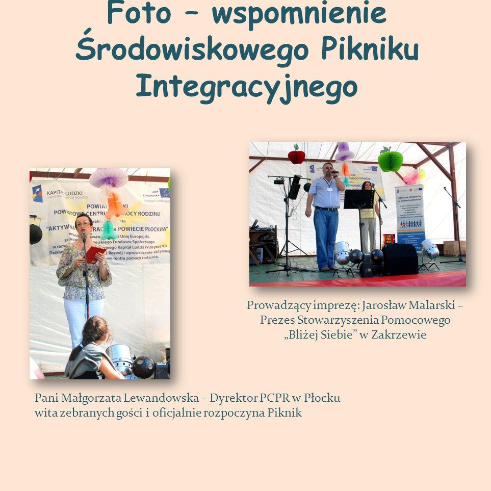 Foto – wspomnienie Środowiskowego Pikniku Integracyjnego Pani Małgorzata Lewandowska – Dyrektor PCPR w Płocku wita zebranych gości i oficjalnie rozpoc
